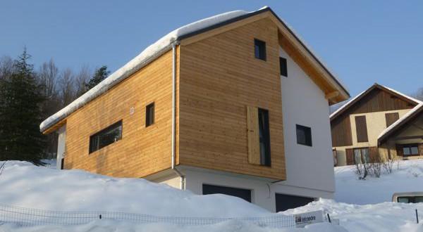 Chalet façade mixte bois béton