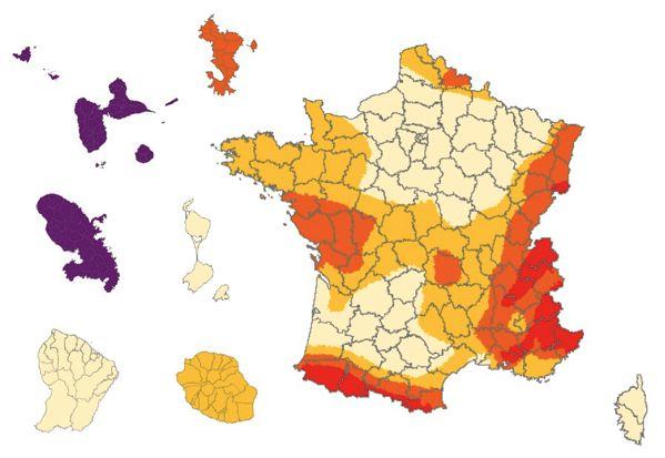 Carte zone risque sismique en France